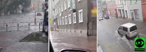 Strzelce Opolskie popłynęły. Ulice i piwnice pod wodą