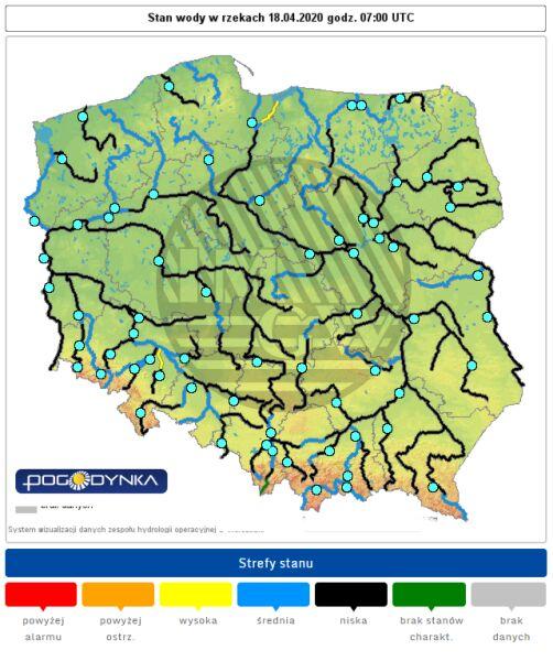 Stan wody w rzekach 18 kwietnia o godzinie 8 (pogodynka.pl/polska/hydro)